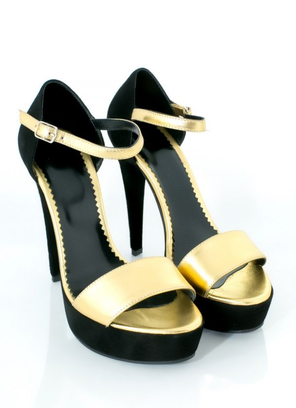Sandale aurii din piele