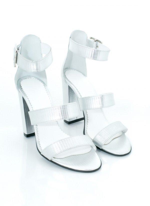 Sandale argintii piele naturala