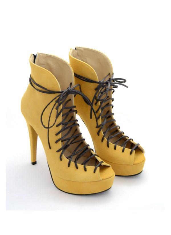 Sandale piele intoarsa cu platforma