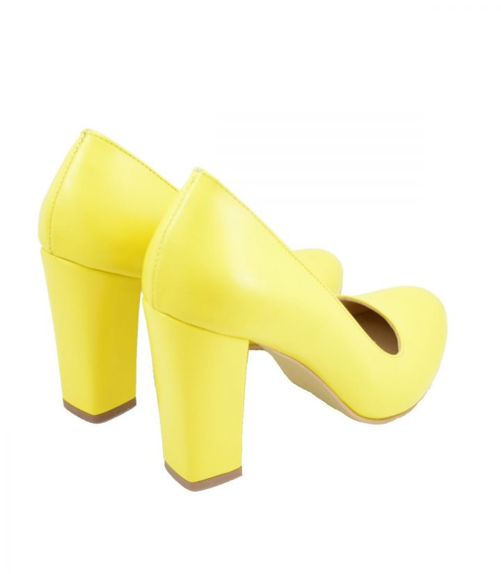 Pantofi Galbeni Toc Gros