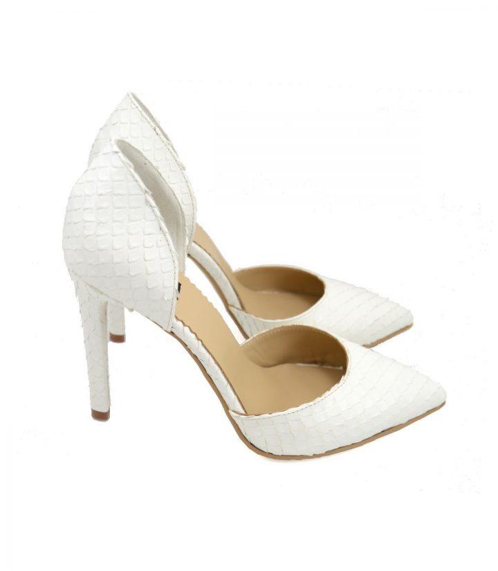 Pantofi Stiletto Sarpe Alb