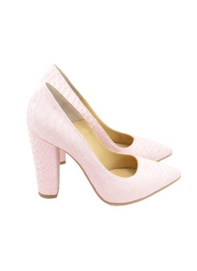 Pantofi Toc Gros Sarpe Roz
