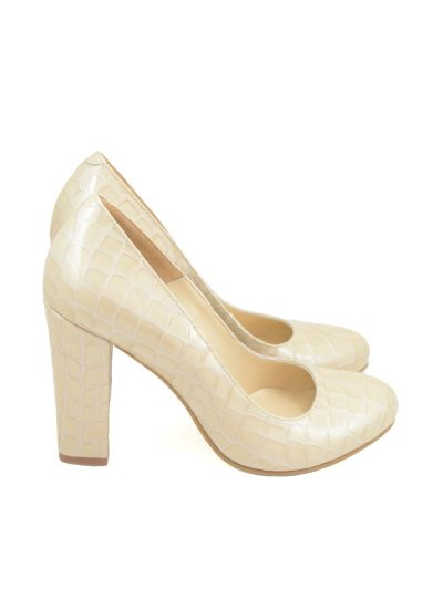 Pantofi Bej Croco Lac