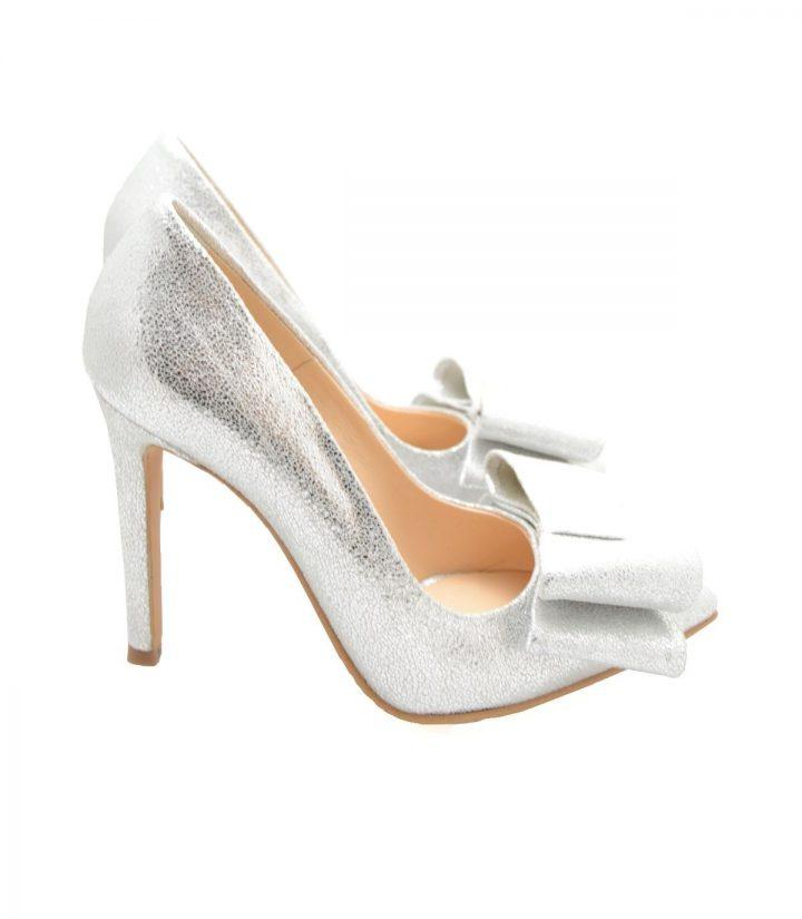 Pantofi Argintii Cu Fundita
