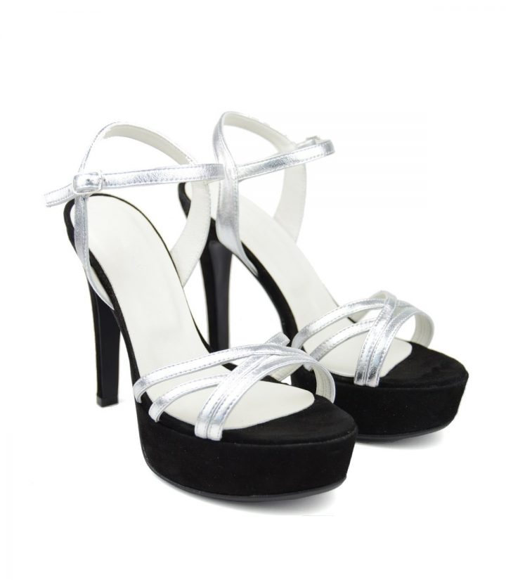 Sandale Platforma Negre-Argintii