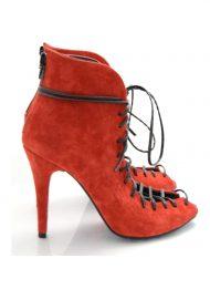 Sandale Rosii Piele Intoarsa