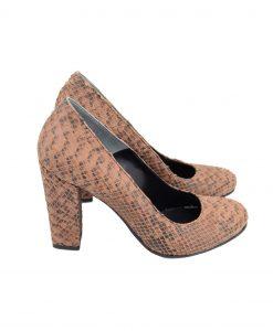 Pantofi Toc Gros Sarpe Maro
