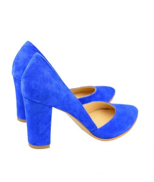 Pantofi Decupati Toc Gros Albastru Electric