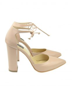 Pantofi Siret Toc Gros Nude