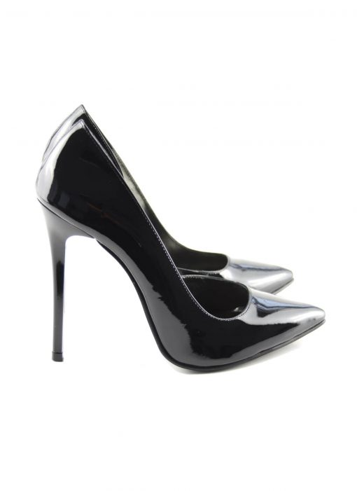 Stiletto Decupat Interior Negru Lac